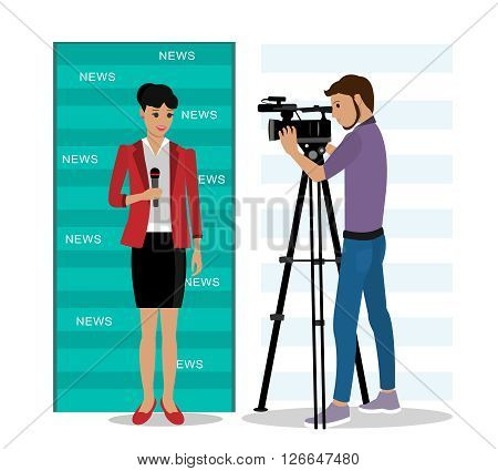 Cameraman filming a reporter. Flat style vector illustration.