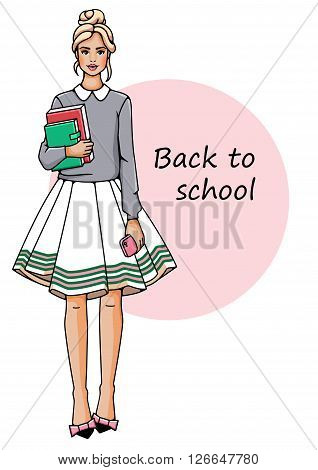 Young beautiful girl stand . She is holding a book in their hands. Fashion woman in white background.
