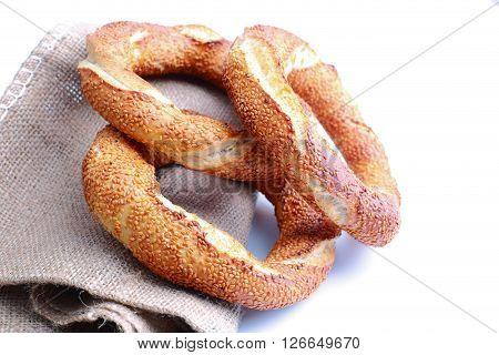 Fresh Turkish bagel on a sacks background