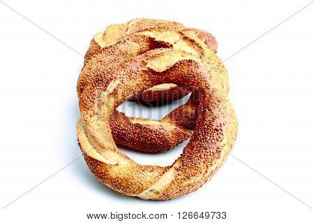 Fresh Turkish bagel on a white background