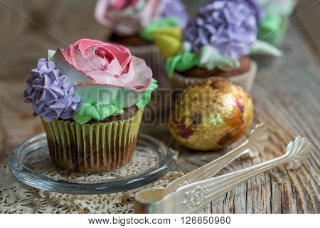 Chocolate Cupcakes With Floral Decor.