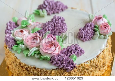 Wedding Cake With Spring Flowers.