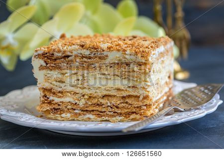 Homemade Puff Cake With Cream.