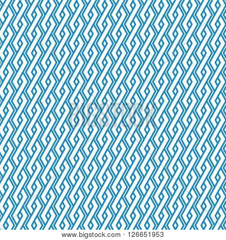 Blue abstract geometric seamless pattern with interweave lines. Vector vertical ornament