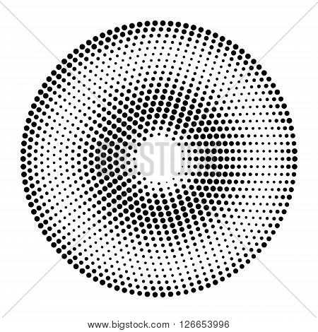 Abstract vector circles background. Black and white dotted halftone background. Design element in vector.