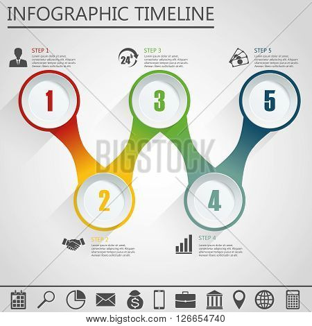 Business concept with 5 options parts steps or processes. Can be used for workflow layout diagram number options web design.