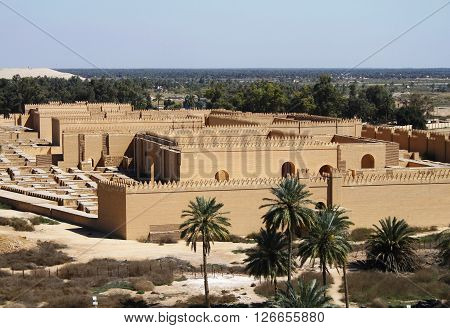 Restored ruins of ancient Babylon in Iraq. poster