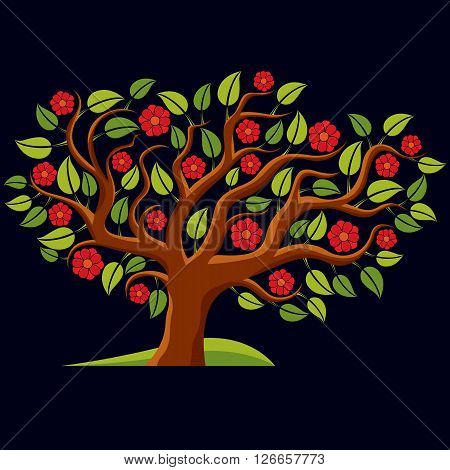 Vector Illustration Of Spring Branchy Tree With Beautiful Blossom. Gorgeous Flowers, Blooming Tree A