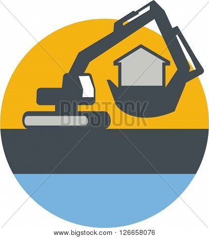 Illustration of a construction excavator mechanical digger handling house inside the digging bucket set inside circle done in retro style.