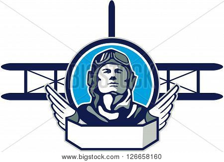Illustration of a vintage world war one pilot airman aviator front with spad biplane fighter planes in background set inside circle done in retro style.