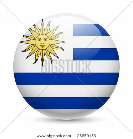 Flag of Uruguay as round glossy icon. Button with Uruguayan flag