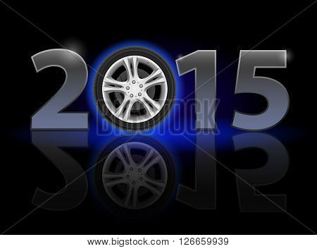 New Year 2015: metal numerals with car wheel instead of zero having weak reflection. Illustration on black background