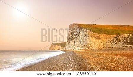 Durdle Door Dramatic Jurassic Coastline Sunrise Dorset UK Concept