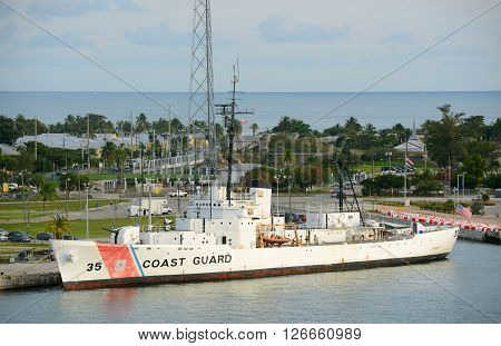 KEY WEST, FL, USA - JAN 1: USCGC Ingham (WHEC-35), a decommissioned United States Coast Guard Cutter. She is the ship museum located at Key West on Jan 1st, 2015 in , Florida, USA.