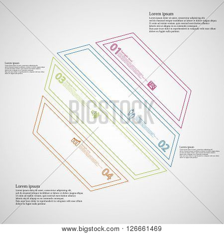 Illustration infographic template with motif of hexagon which is askew divided to four color parts created by double contour outlines. Each item contains number text and simple sign. Background is light.