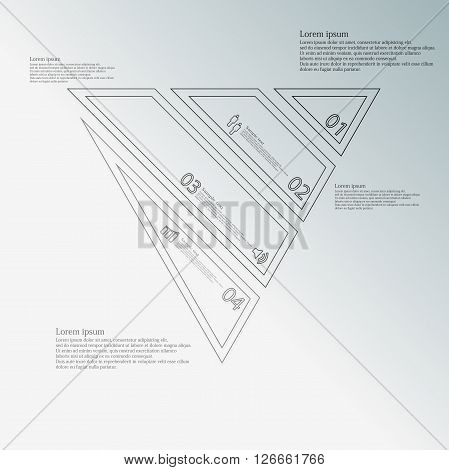 Illustration infographic template with motif of triangle which is askew divided to four grey parts created by double contour outlines. Each item contains number text and simple sign. Background is blue.