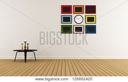 Empty room with blck coffee tablecolorful candel and blank frame on wall - 3D Rendering