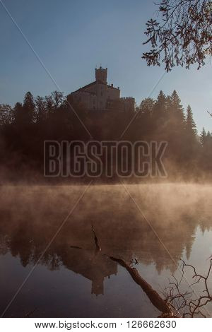 Old castle Trakoscan, Croatia, dark mystic obscure atmosphere, reflection in the lake