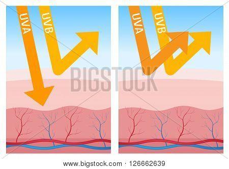 uv-a and uv-b skin protection , 2 steps