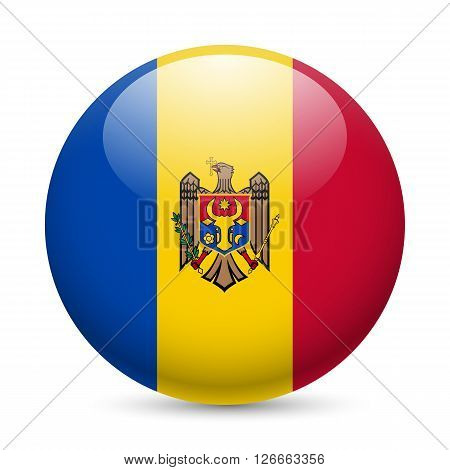 Flag of Moldova as round glossy icon. Button with Moldovan flag