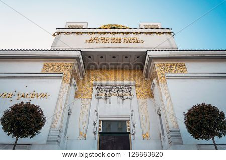 VIENNA, AUSTRIA- April 19 : Vienna Secession Building was formed in 1897 by a group of Austrian artists. Vienna Secession on April 19, 2016.Vienna, Austria
