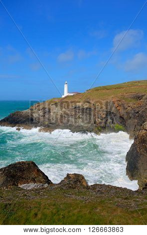 Lighthouse North Cornwall coast Trevose Head between Newquay and Padstow English maritime building in rich colours