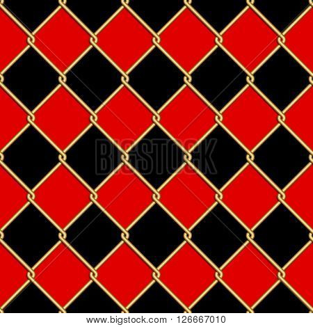 Gold wire grid seamless pattern on red and black rhomboids background