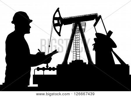 Vector Illustration Of Worker And Oil Pump Silhouettes