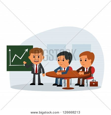Successful people at the conference. Coffee break. meeting. planning. colleagues edification. Vector illustration in a flat design style.