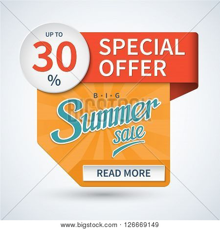Summer sale banner. Special offer vector background. Summer sale tag. summer sale and special offer colorful design elements.