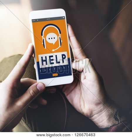 Help Helpline Helping Hand Headphones Advice Concept