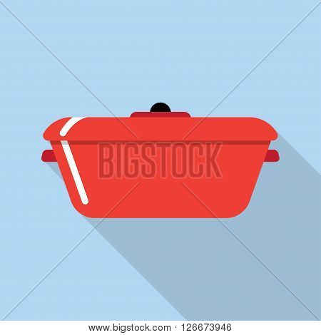 Flat style with long shadows cooking stewpot vector icon illustration.