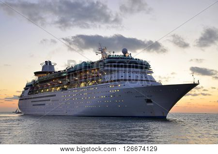 KEY WEST, FL, USA - DEC 20: Majesty of the Seas docked at sunset on December 20th, 2015 in Key West, Florida, USA.