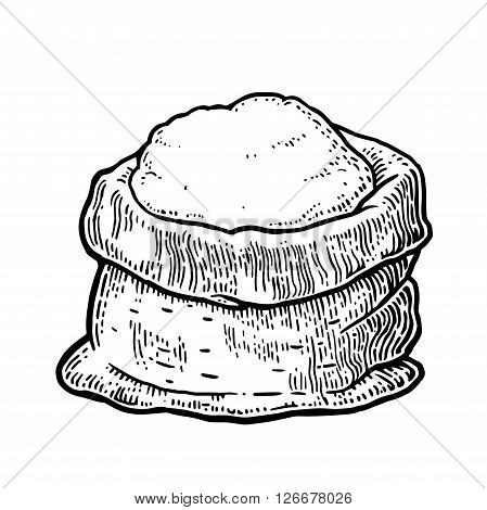 Sack with whole flour. Hand drawn sketch style. Vintage black vector engraving illustration for label, web, flayer bakery shop.  Isolated on white background.