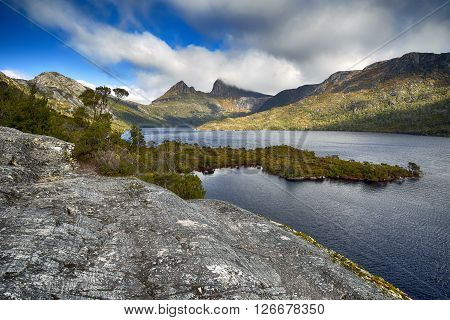 Cradle Mountain and Dove Lake from Glacier Rock, Tasmania, Australia