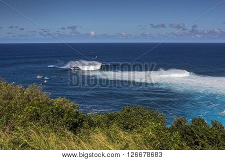 View from cliffs above Peahi or Jaws surf break, Maui, Hawaii, USA
