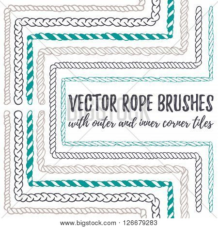 Vector set of 6 hand drawn decorative seamless pattern Rope brushes with outer and inner corner tiles. Endless whimsical ink borders for frames, marine knots, nautical elements. Brushes in eps file