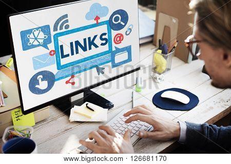 Link Network Hyperlink Internet Backlinks Online Concept