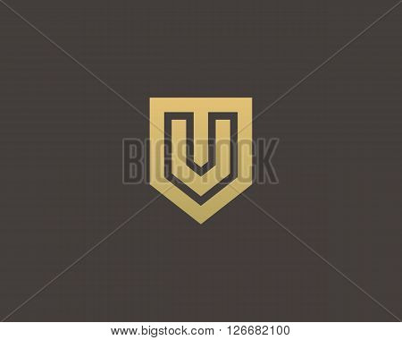 Abstract letter V shield logo design template. Premium nominal monogram business sign. Universal foundation vector icon