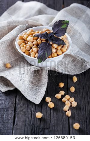 Chickpeas In Bowl With Basil, Top View