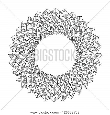 Black abstract fractal shape, abstract geometric figures
