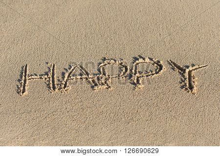 Inscription Happy On Sandy Beach