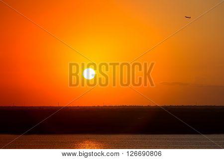 Beautiful Yellow Sunset With Orange Sky