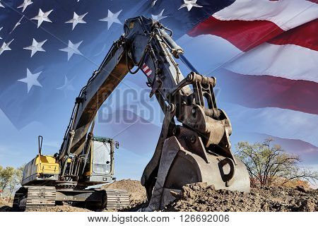 Industrial Heavy Equipment machine excavator USA flag concept building America photograph