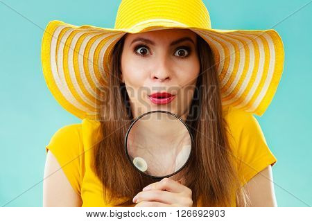 Girl Holding Magnifying Glass Loupe