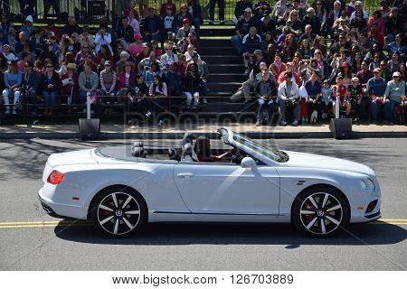 WASHINGTON, DC - APR 16: Bentley convertible car at the 2016 National Cherry Blossom Parade in Washington DC, as seen on April 16, 2016. Thousands of visitors gathered to attend this annual event.