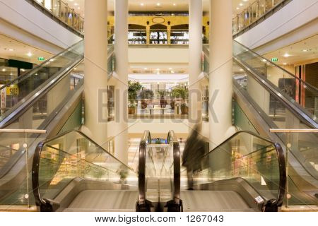 Escalator In A Modern Multilevel Shopping Mall