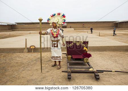 TRUJILLO PERU - August 3: Representation of the great lord Chimu pre-Inca city ruins of Chan Chan on August 3 2012 in Trujillo Peru.