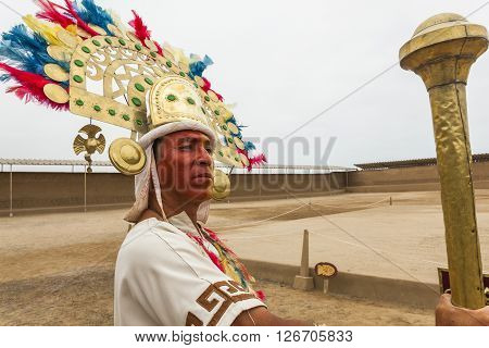 TRUJILLO PERU - August 3: Representation of the great lord Chimu pre-Inca city ruins of Chan Chan on August 3 2012 in Trujillo Peru.