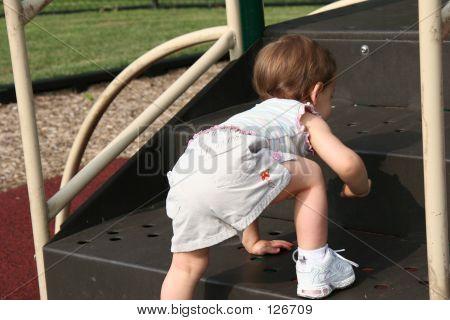 Baby Girl Climbing Steps
